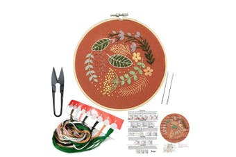 (Flower 8) - Full Set of Hand Made Embroidery Starter Kit with Partten Including Embroidery Cloth,Bamboo Embroidery Hoop, Colour Threads, and Tools Kit for Beginner
