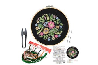(Flower 9) - Full Set of Hand Made Embroidery Starter Kit with Partten Including Embroidery Cloth,Bamboo Embroidery Hoop, Colour Threads, and Tools Kit for Beginner