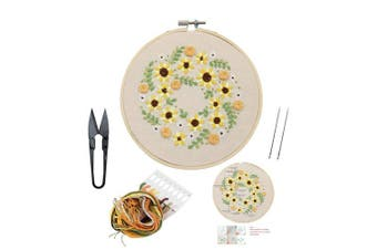 (Flower 11) - Full Set of Handmade Embroidery Starter Kit with Partten Including Embroidery Cloth,Bamboo Embroidery Hoop, Colour Threads, and Tools Kit for Beginner