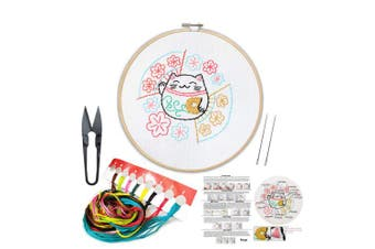 (Cat) - Full Set of Handmade Embroidery Starter Kit with Partten Including Embroidery Cloth,Bamboo Embroidery Hoop, Colour Threads, and Tools Kit for Beginner