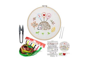 (Hedgehog 2) - Full Set of Handmade Embroidery Starter Kit with Partten Including Embroidery Cloth,Bamboo Embroidery Hoop, Colour Threads, and Tools Kit for Beginner