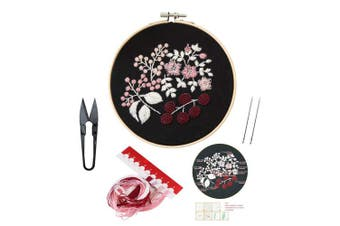 (Flower 14) - Full Set of Handmade Embroidery Starter Kit with Partten Including Embroidery Cloth,Bamboo Embroidery Hoop, Colour Threads, and Tools Kit for Beginner
