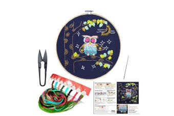 (Owl) - Full Set of Handmade Embroidery Starter Kit with Cute Animal Pattern Including Embroidery Cloth,Bamboo Embroidery Hoop, Colour Threads, and Tools Kit for Beginners (Owl)