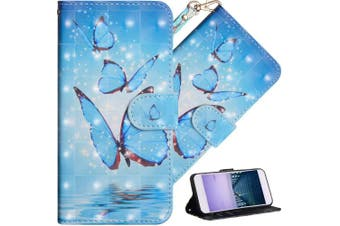 (A] Three Blue Butterflies) - COTDINFOR Nokia 6.1 Plus 2018 Cover 3D Effect Painted Premium PU Leather Wallet Case With Magnetic Clasp Shockproof Card Holder For Nokia X6 / Nokia 6.1 Plus Three Blue Butterflies YX.
