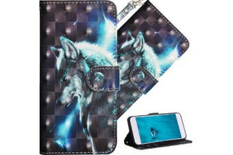 (A] Star Wlof) - COTDINFOR Nokia 6.1 Plus 2018 Cover 3D Effect Painted Premium PU Leather Wallet Case With Magnetic Clasp Shockproof Card Holder For Nokia X6 / Nokia 6.1 Plus Star Wlof YX.