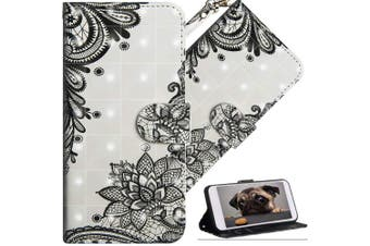 (A] Diagonal Black Flowers) - COTDINFOR Nokia 6.1 Plus 2018 Cover 3D Effect Painted Premium PU Leather Wallet Case With Magnetic Clasp Shockproof Card Holder For Nokia X6 / Nokia 6.1 Plus Diagonal Black Flowers YX.