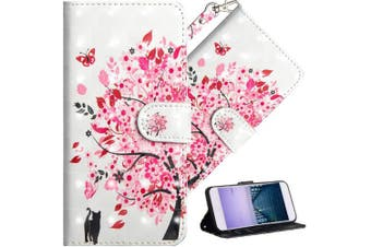 (A] Flower Tree Cat) - COTDINFOR Nokia 6.1 Plus 2018 Cover 3D Effect Painted Premium PU Leather Wallet Case With Magnetic Clasp Shockproof Card Holder For Nokia X6 / Nokia 6.1 Plus Flower Tree Cat YX.