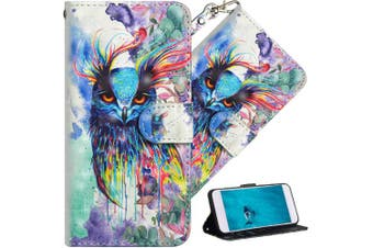 (A] Watercolor Owl) - COTDINFOR Nokia 6.1 Plus 2018 Cover 3D Effect Painted Premium PU Leather Wallet Case With Magnetic Clasp Shockproof Card Holder For Nokia X6 / Nokia 6.1 Plus Watercolour Owl YX.