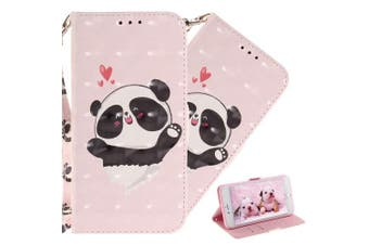 (T: Love Panda) - COTDINFOR Nokia X6 Case Cute Animal 3D Effect Painted PU Leather Wallet Cover Flip Magnetic Clasp Shockproof Card Holder Stand Case for Nokia 6.1 Plus 2018 / Nokia X6 Love Panda TX.