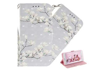 (T: White Flowers) - COTDINFOR Nokia X6 Case Cute Animal 3D Effect Painted PU Leather Wallet Cover Flip Magnetic Clasp Shockproof Card Holder Stand Case for Nokia 6.1 Plus 2018 / Nokia X6 White Flowers TX.