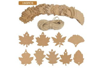 BUYGOO 180 PCS Favour Tags Gift Tags Place Cards Name Tags Blank Cards Hang Tags Kraft Paper Tags Maple Fall Leaves Shape - 8.1cm L with Natural Jute Twine for Fall Party Thanksgiving Craft Presents