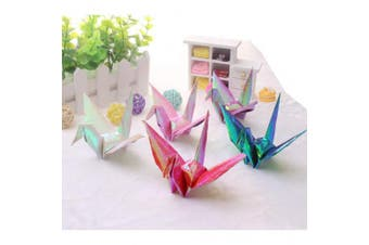 Cieovo 100 PCS New Origami Paper Cranes Garland Glitter Mixed Colours Folded DIY Japanese Crane Mobile String Garland for Wedding Party Backdrop Home Decoration
