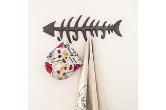 (Brown) - Comfify Decorative Fish Bones Wall Mount Towel Rack Stylish Cast Iron Hanger w/ 10cm Fish Hooks | Includes Screws and Anchors | in Rust Brown