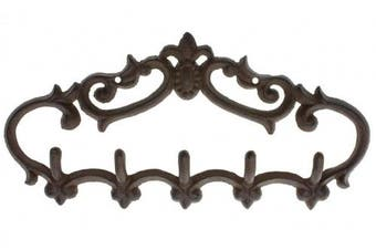 (Brown | 5 Hooks) - Comfify Cast Iron Wall Hanger – Vintage Design with 5 Hooks - Keys, Towels, etc - Wall Mounted, Metal, Heavy Duty, Rustic, Vintage, Decorative Gift Idea - Brown