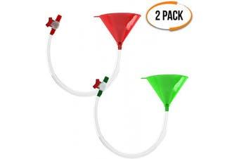 Beer Bong with Stop Valve - Premium Beer Funnel with Leak proof Stopper - Ideal for College Parties, Fun Alcohol Chugging Festivals - Beer Drinking Game for Birthdays, Christmas, New Years Party