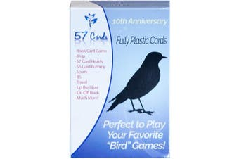 Plastic Bird Cards: 57 Cards 10th Anniversary Deck. Durable, Waterproof, & No Fraying.