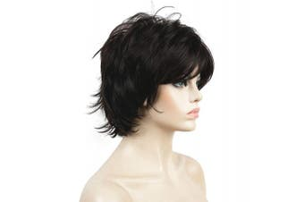 (#4 Dark Brown) - Lydell Short Layered Shaggy Full Synthetic Wig Wigs #4 Dark Brown