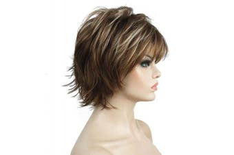 (12TT26 Brown Highlights) - Lydell Short Layered Shaggy Full Synthetic Wig Wigs 12TT26 Brown Highlights