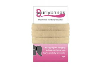 (Blonde 3 Pcs) - Burlybands - The Ultimate Hair Ties for Thick Heavy or Curly Hair. No Slipping Damage Breaking or Stretching Out. Seamless Ponytail Holders Scrunchies Sports Hair Ties for Thick Hair (Blonde 3 Pcs)