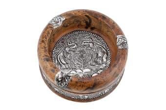 (L) - Natural Wood Cigarette Ashtray, Smoke Ash Holder Tabletop for Outdoors Indoors Elephant Art Carving Ash Catcher Decoration(L)