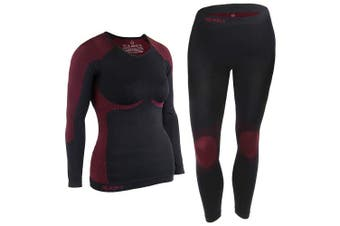 (Black-Red, S/M) - ALPIDEX Women's Functional Underwear Thermal underwear Ski Underwear - breathable, warming and quick-drying