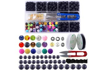 Lava Stone Box Set Kits Round Loose Chakra Rock Beads and Spacer Beads with Accessories Tools for Essential Oil Yoga Diffuser Bracelet Jewellery Making (Lava Stone Beads Kit)