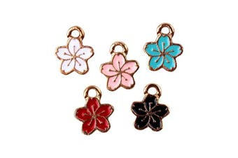 M308-E 20pcs New Cute Assorted Tiny Flowers Bracelet Charms Pendants Wholesale
