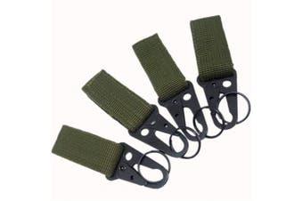 (Green) - JBBERTH 4 pcs actical Belt Multifunctional Nylon Webbing Keychain Multi-Purpose Molle Clip Buckle