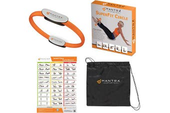 (Orange) - Mantra Sports Pilates Ring Magic Fitness Circle - Exercise Resistance Equipment for Toning & Sculpting Inner & Outer Thighs-Improve Core Power Strength, Flexibility & Posture-Workout Poster & Bag