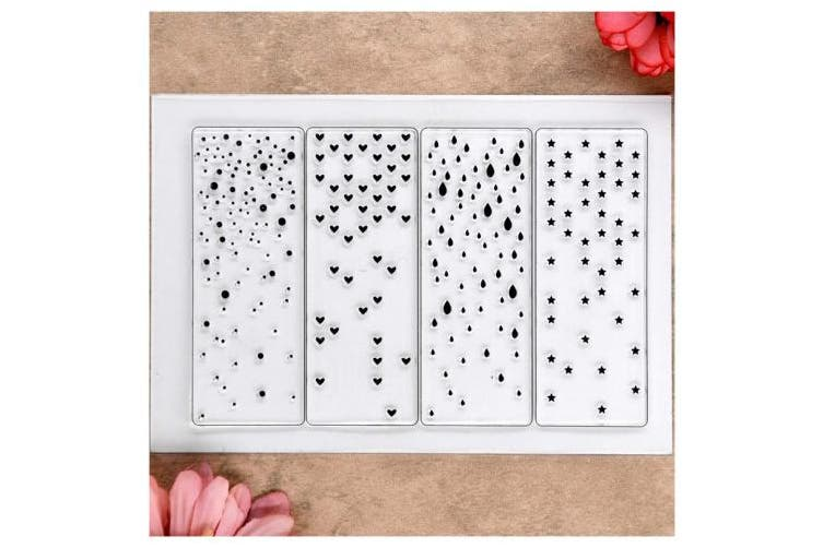 Kwan Crafts Snowfall Star Heart Raindrop Background Clear Stamps for Card Making Decoration and DIY Scrapbooking