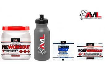Advanced Molecular Labs Preworkout Stimulant Free Fruit Punch Powder 550ml 520 Grammes & Free Sport Water Bottle & 2 Travel Size Samples.