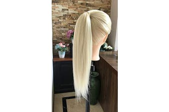 DevaLook 60cm Professional Long 50% Soft Real Human Hair Hairdressing Equipment Styling Head Doll Mannequin Training Head Tools Braiding Cutting Student Practise Model Clamp (Platinum blonde)