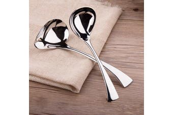 (2-Piece) - IMEEA 18cm Sauce Drizzle Spoon 19cm Gravy Soup Spoon 18/10 Stainless Steel, Set of 2