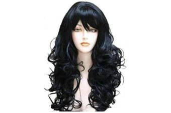 (Black) - Womens Hair wig Black Synthetic Full Wig Natural Wavy Loose Curl Synthetic Fabulous Wig Natural As Real Hair Party Wig (Black)