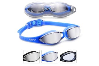 (#A-Blue) - Adepoy Swimming Goggles Anti Fog Crystal Clear Vision with UV Protection No Leaking Easy to Adjust Comfortable for Adults Men Women-Black Blue