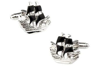 Ashton and Finch Pirate Galleon Ship Cufflinks in a Free Luxury Presentation Box. Novelty Sailing Nautical Theme Jewellery