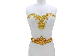 (gold) - Rhinestone Applique with Crystal Trim 3D lace Patches Great for DIY Neckline Bodice Belt Wedding Bridal Prom Dress A3 (Gold)