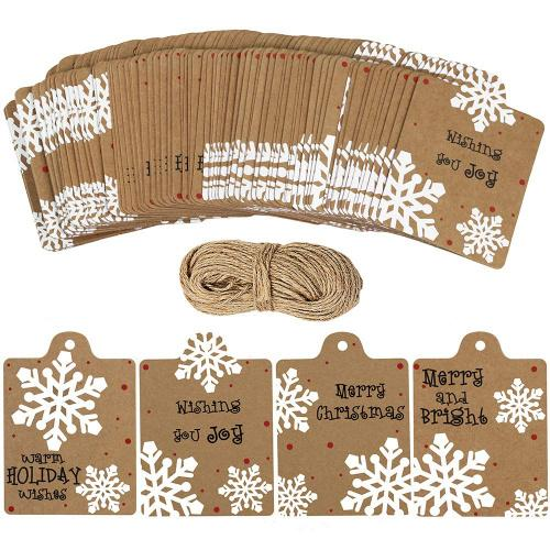 "100 Pcs Christmas Winter Kraft Brown Gift Tags Label Snowflake Prints Favour Tags Rustic Treat Tags to/from Tags Merry tie-on Tags Festive Warm Wishes Cards Tags Label and 30 Yards Jute Twines String Quantity:  Package includes 100 Pcs Winter Snowflake Design Gift Tags Favour Tags with holes and 30 Yards Natural jute twine string.  Material:  Holiday Gift Tags are 300g kraft brown paper. White Snowflake Prints are clear, thick and bright.  Dimensions(inch):  Gift Tags measures 3.26 L x 2.36 W.  4 Design:  Adorable Festival and Seasonal Snowflake Patterns with different Hand Drawn Warm Wishes:Merry and Bright,Wishing you joy,Merry Christmas,Warm Holiday Wishes  In black ink the tags have been printed with the words ""To"" and ""From""  Perfect for gift wrapping  These tags are perfect for adding an extra special touch to your Christmas gifts and wrapping.Perfect for scrapbooking, gift wrapping, card making, invitations and other paper crafting projects! Like Wishing Tree Tag, Gift Tags, Favour Tags, Clothing Tags, Price Tags, Bottle Tags, Gift Toppers, Escort Cards, Table Settings Tags, Plant Tags, winter Theme Craft, Christmas tree hanging ornament, Thanksgiving Decoration, Wedding Party Place cards, Scrapbooking, Bookmark and more"