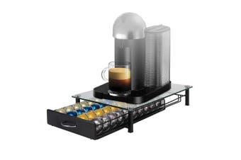 (Glass) - Flagship Nespresso VertuoLine Coffee Pod Holder Storage Drawer for Capsules Single Serve Coffee Pods with Glass Desktop, Mesh Shelves (40 Pods)