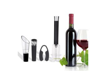 Wine Air Pressure Pump Opener Set,Wine Bottle Cork Remover Accessory Tool Kit with Air Pressure Pump,Foil Cutter,Wine Aerator Pourer and Vacuum Stopper Gift Set, Great For Wine Lovers (Silver)