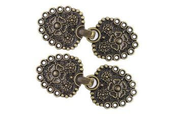 (Antique Brass) - Bezelry 4 Pairs Romantic Bouquet Cape or Cloak Clasp Fasteners. 62mm x 25mm Fastened. Sew On Hooks and Eyes Cardigan Clip (Antique Brass)