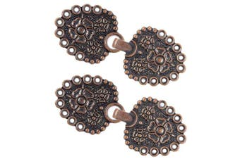 (Antique Copper) - Bezelry 4 Pairs Romantic Bouquet Cape or Cloak Clasp Fasteners. 62mm x 25mm Fastened. Sew On Hooks and Eyes Cardigan Clip (Antique Copper)