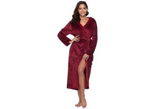 (Wine Red A-long, XL) - Aibrou Womens Hooded Dressing Gown, Luxury Cosy Warm Bathrobe Housecoat Lounge Wear with Belt