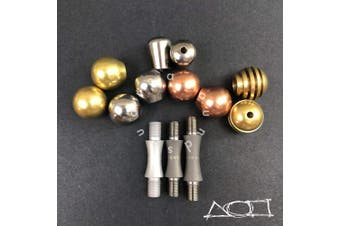 (Titanium with Stainless Steel)) - AroundSquare Knucklebone Modular - Begleri - Skill Toy (Titanium with Stainless Steel