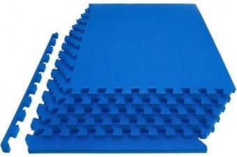 """(1"""" Thick 24 Square Feet, Blue) - Prosource Fit Extra Thick Puzzle Exercise Mat 3/4"""" or 2.5cm , EVA Foam Interlocking Tiles for Protective, Cushioned Workout Flooring for Home and Gym Equipment"""