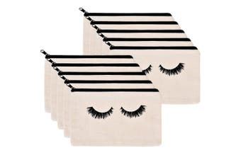 (White) - 10 Pieces Eyelash Makeup Bags Cosmetic Bags Travel Make up Pouches with Zipper for Women Girls (White)
