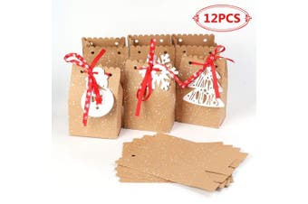 Aparty4u 12pcs Christmas Gift Bags, Kraft Paper Bags Goodie Bags for Christmas Party Decoration 5 x 7.6cm x 18cm