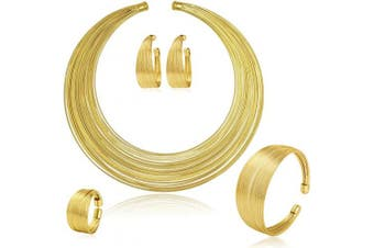 (Golden) - MOOCHI Gold Plated African Multiple Strands Choker Women Necklace Earrings Chunky Costume Statement Jewellery Set