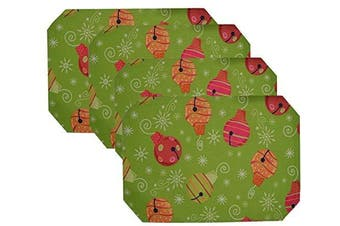 (Christmas Lights) - Set 4, Fabric Christams Octagon Shape Table Placemats. 46cm w X 30cm h. (Christmas Lights)
