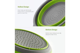 (red ang green) - Collapsible Colander,Kitchen Collander Set,Space-Saver Folding Silicone Strainers,Food Strainer Drainer Bowls with Handles,for Hot or Cold Food, Fruit Vegetable(Green & Red)